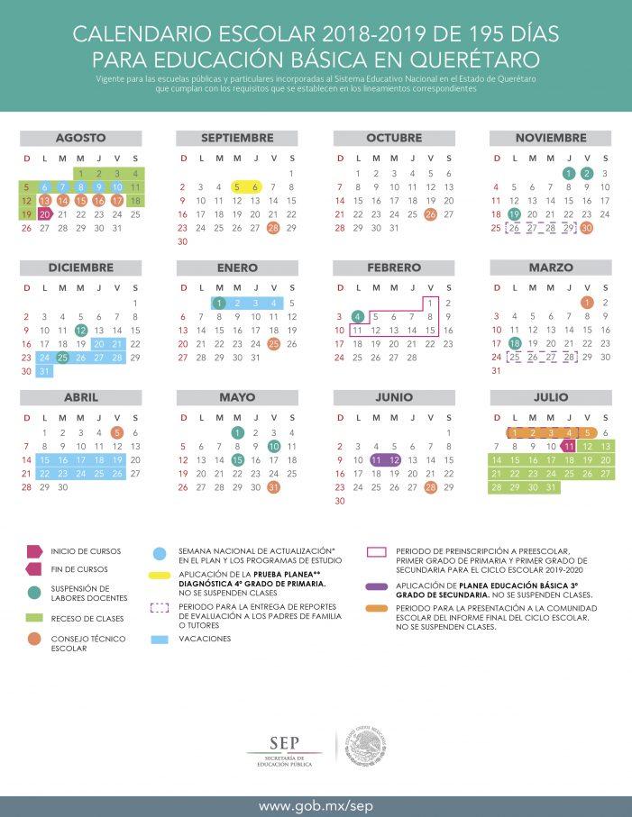 Difunden calendario para el ciclo escolar 2018-2019