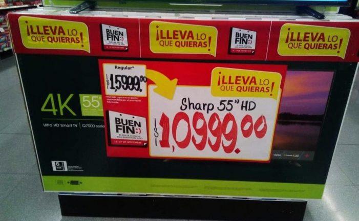 Por error rematan pantallas en mil 99 pesos en Buen Fin