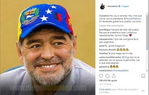 Maradona demuestra su apoyo a Nicolás Maduro
