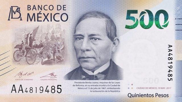 El billete de 500 pesos de Benito Juárez, entre los más bellos del mundo