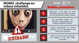 La FGR recomienda estar alerta por videos dirigidos a los niños como el #MomoChallenge