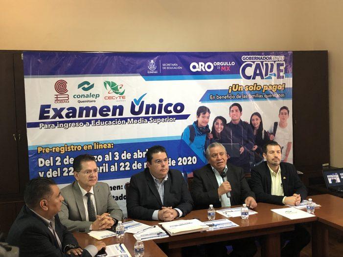 Convocan a hacer examen único a aspirantes al nivel medio superior en Querétaro