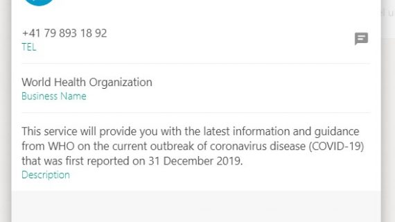 La OMS te puede mandar por WhatsApp la información actualizada sobre el Covid-19